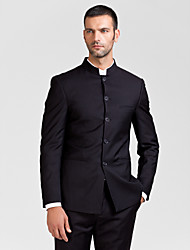 Suits Tailored Fit Polyester 2 Pieces Black Straight Piped None (Flat Front) None (Flat Front)