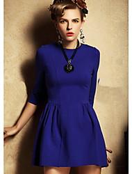 vestido de manga 3/4 color sólido cuello redondo de las mujeres mifeier