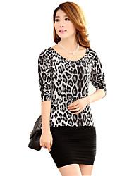 de manga larga de la moda patrón de leopardo ¡La camiseta de las mujeres upinku