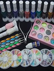 37pcs nail art decoratie kit polish lijm strass clipper puntjes hulpmiddel