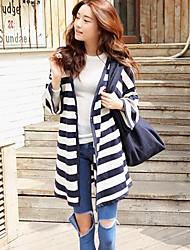 Frauen Streifen lose Pullover fünf Knopf-Sakko Pullover