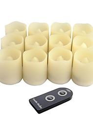 conjunto de 12 cor marfim plástico sem chama levou velas votivas com controle remoto