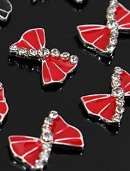 10pcs   Red Bow Rhinestone Alloy Accessories For Finger Tips Nail Art Decoration