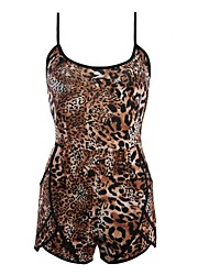 Women's Sexy Leopard Print Backless Sleeveless Short Jumpsuit