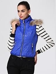 Oxygene Monde® Women's Shiny Leopard Print Sleevless Hooded Padded Vest