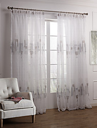 Modern Two Panels Geometric Grey Bedroom Polyester Sheer Curtains Shades
