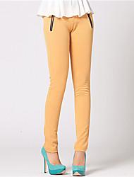 pantalones de las mujeres zyqy elegantes flacas largas (amarillo)