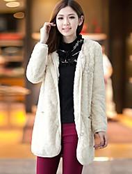 Women's Rex Rabbit Fur Leather Fur Coat In The Long Grass Fur