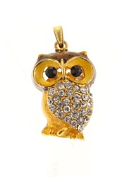 ZP 64GB Golden Owl Pattern Bling Diamond Metal Style USB Flash Drive