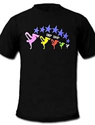 мужской свет вверх водить футболку звук и музыка активированный эквалайзер для партии бар рейвер