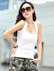 Women's Halter Neck Low Cut Tight Backless T-Shirt