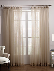 Modern Two Panels Floral  Botanical Beige Bedroom Polyester Sheer Curtains Shades