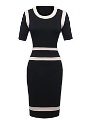 Women's Black Dress , Sexy/Bodycon/Casual Crew Neck Short Sleeve