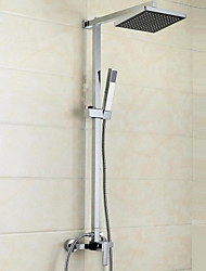 Contemporary Modern Shower System Waterfall Handshower Included with  Ceramic Valve Single Handle Three Holes for  Chrome , Shower Faucet
