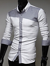 g&y mode couleur de contraste chemise à manches longues mince (gris, bleu clair)