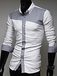 g&y mode contrasterende kleur slanke lange mouwen shirt (grijs, lichtblauw)