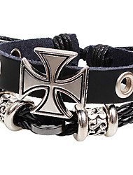 Men's Multilayer Cross Black Leather Wrap Bracelet