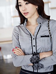 Women's New Stand Collar Lace Patchwork Slim OL Shirt Tops