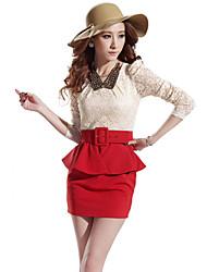яна элегантный смешанные цвета кружева сращивания тонкий длинный рукав Bodycon платье