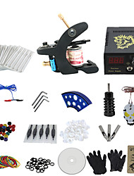 1 Gun Complete No Ink Tattoo Kit with Black Tatoo Machine For Shader and Lcd Screen Plastic Power