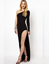 Monta Oblique Shoulder Designs Long Dress With Side Slit