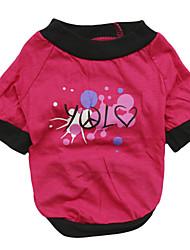 Gatos / Cães Camiseta / Roupa / vestuário Rosa Verão Carta e Número