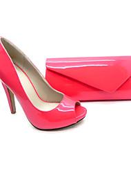 Calçados Femininos - Saltos - Peep Toe / Sapatos com Bolsa Combinando - Salto Agulha - Vermelho / Bege - Courino - Social / Festas & Noite