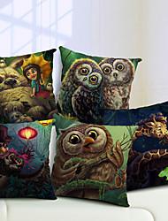 lot de 5 animaux de dessin animé coton / lin taie d'oreiller décoratif