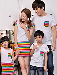 Family's Fashion Joker Leisure Parent Child Short Sleeves Rainbow Stripe T Shirt And Dress