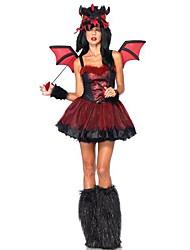 sanglante diable rouge&le costume d'Halloween de noir polyester femmes