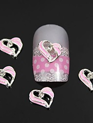 10pcs Fashion Pink Rhinestones Heart Alloy Nail Art Decoration