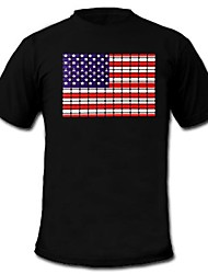 Mens Light Up LED T-shirt American flag pattern Sound and Music Activated Equalizer for Party Bar Raver