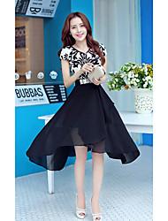 BYHS Women's Slim Swallow Tail Short Sleeve Chiffon Dress(Without Belt)