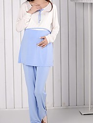 Maternity Round Collar Breast-feed Sleepwear Clothing Sets(Blouse&Pants)