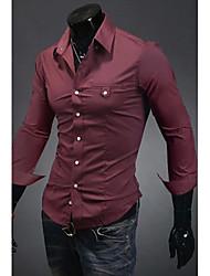 g&y chemise à manches longues décontracté (vin, blanc, noir, violet)