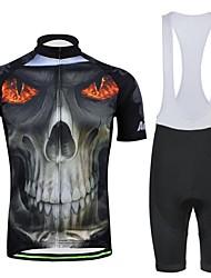 мужская весна лето и осень стиль горелки скелет черный короткий рукав нагрудник шорты велосипедные костюмы с карманом
