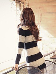 Women's Line Design Of Cultivate One's Morality Stripe Knit Sweater Dress
