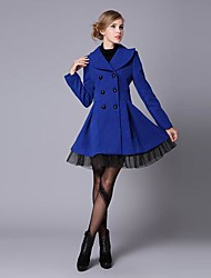 Women's New Fashion Twill Yarm Double Breasted  Wool Coat