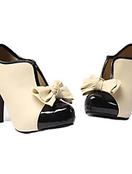 Fly Lady Cream Faux Patent Leather Bowknot Shoes