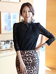Women's Lace Black Blouse , Bow Long Sleeve Lace/Bow/Mesh