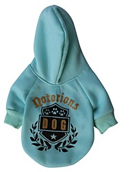 Cat / Dog Hoodie Green / Blue Dog Clothes Winter Letter & Number
