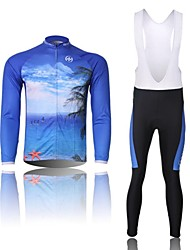 XINTOWN Men's Sea Quick Dry Moisture Absorption Long Sleeve Bib Tights Cycling Suit—Blue+White