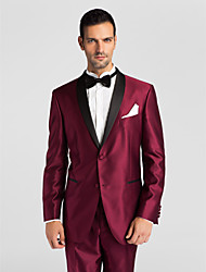 (Premium) Black&Red Polyeter Tailored Fit Two-Piece Tuxedo
