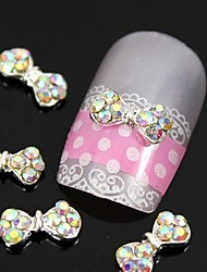 10pcs   Colorfull Rhinestone Bow Tie Alloy Fingernail Accessories Nail Art Decoration