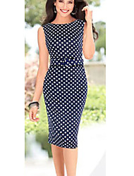 BALI Fashion Sleevless Polka Dots Round Silm Causal Dress
