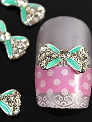 10st groen kruising strass strikje lichtmetalen nagel accessoires nail art decoratie