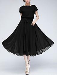 GGN Women's Batwing Sleeve Chiffon Waist Belt Dress
