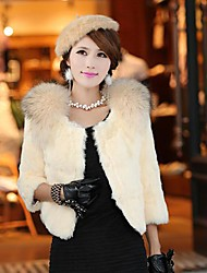 Women's  Elegant  Solid  Color   ¾ Sleeve   Fur  Coat