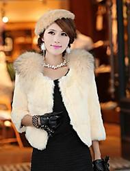 Women's  Elegant  Solid  Color   ¾ Sleeve   Fur  Coat