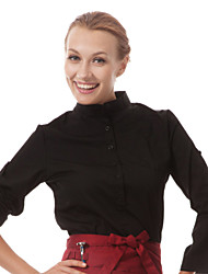 Restaurant Uniforms 3/4 Sleeve Waiter Blouses with Pull Over